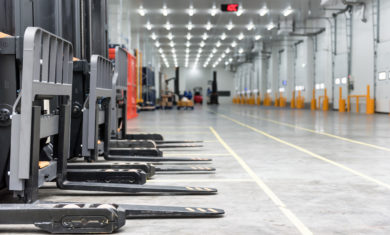 Loading area in the warehouse cold room  with forklift standing